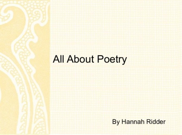 All About Poetry