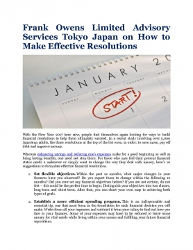 Frank Owens Limited Advisory Services Tokyo Japan on How to Make Effective Resolutions