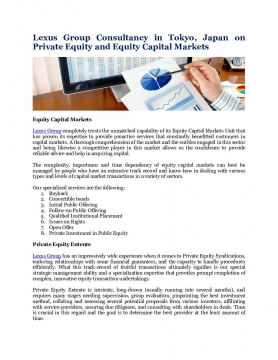 Lexus Group Consultancy in Tokyo, Japan on Private Equity and Equity Capital Markets