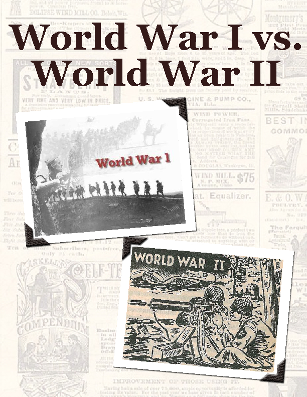 comparing and contrasting ww1 and ww2 essays 16052011  war has always been a part of human life and the growth of every country in the world it was either war between two or more countries or war within the.