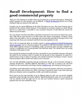 Bacall Development: How to find a good commercial property