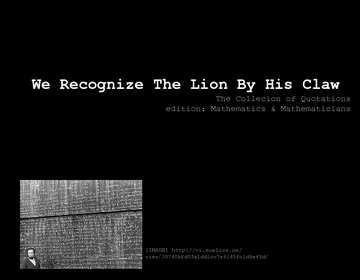 We Recognize The Lion By His Claw