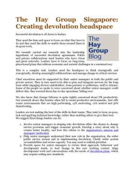 The Hay Group Singapore: Creating devolution headspace