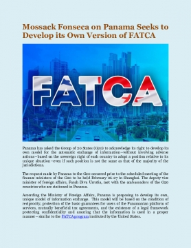 Mossack Fonseca on Panama Seeks to Develop its Own Version of FATCA