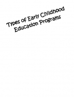 Types of ECE Programs