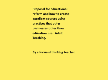 Proposal for educational reform in adult teaching