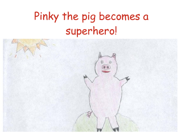 Pinky the pig becomes a superhero!