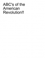 ABC's of the American Revolution