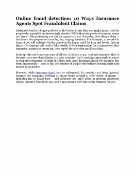 Online fraud detection: 10 Ways Insurance Agents Spot Fraudulent Claims