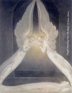 Angels Hovering Over The Body Of Jesus Christ.