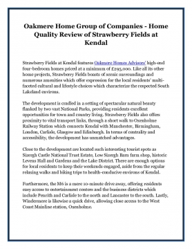 Oakmere Home Group of Companies - Home Quality Review of Strawberry Fields at Kendal