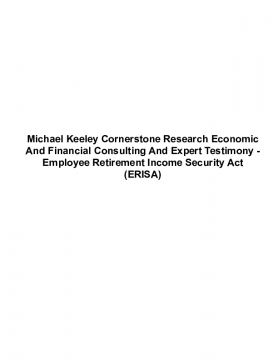 Michael Keeley Cornerstone Research Economic And Financial Consulting And Expert Testimony