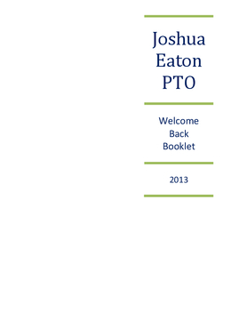 Joshua Eaton PTO Welcome Back Booklet