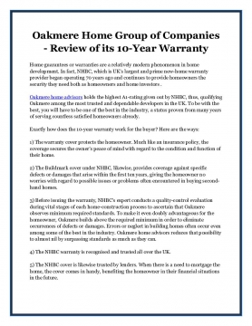Oakmere Home Group of Companies - Review of its 10-Year Warranty