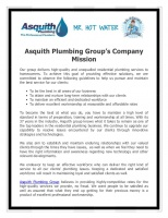 Asquith Plumbing Group's Company Mission