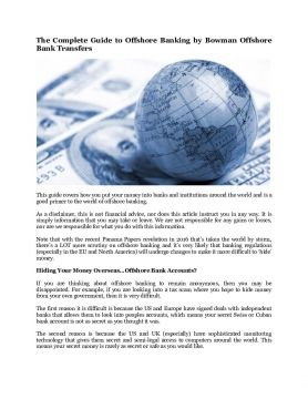 The Complete Guide to Offshore Banking by Bowman Offshore Bank Transfers