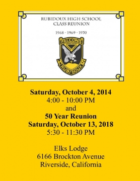 Rubidoux Reunion October 2014 and 2018 | Cover Page | Book