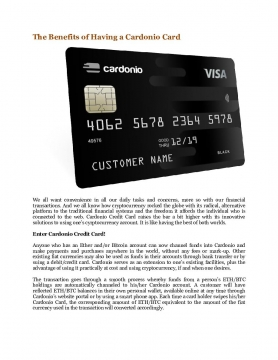 The Benefits of Having a Cardonio Card