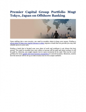 Premier Capital Group Portfolio Mngt Tokyo, Japan on Offshore Banking