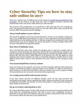Cyber Security Tips on how to stay safe online in 2017