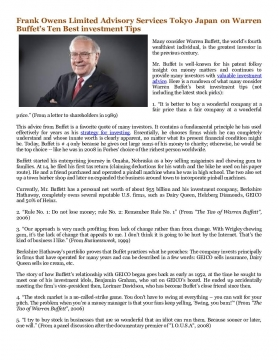 Frank Owens Limited Advisory Services Tokyo Japan on Warren Buffet's Ten Best investment Tips