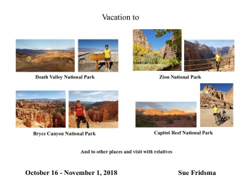 Vacation to Death Valley, Zion, Bryce Canyon and Capitol Reef National Parks in the SW