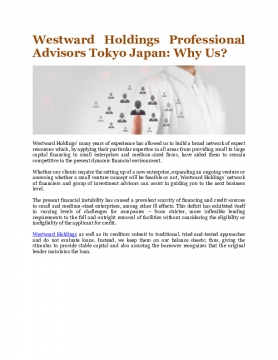 Westward Holdings Professional Advisors Tokyo Japan: Why Us?