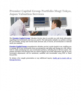 Premier Capital Group Portfolio Mngt Tokyo, Japan Valuation Services