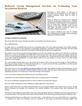 Bellmore Group Management Services on Evaluating Your Investment Returns