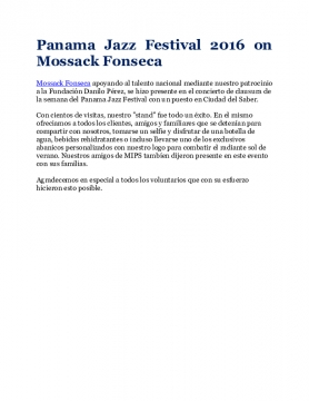 Panama Jazz Festival 2016 on Mossack Fonseca