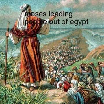 Moses leading the people out  of egypt