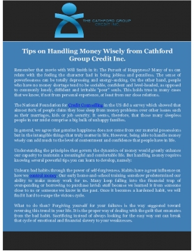 Tips on Handling Money Wisely from Cathford Group Credit Inc.