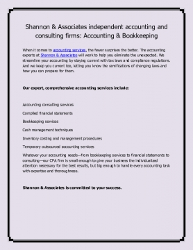 Shannon & Associates independent accounting and consulting firms: Accounting & Bookkeeping