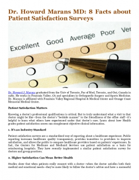 Dr. Howard Marans MD: 8 Facts about Patient Satisfaction Surveys