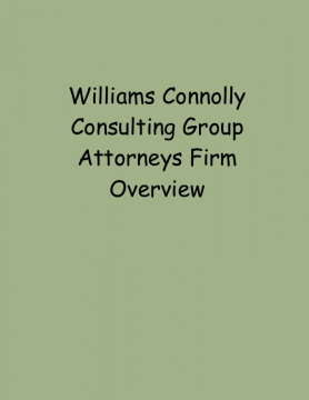 Williams Connolly Consulting Group Attorneys Firm Overview
