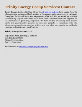 Trinity Energy Group Services: Contact