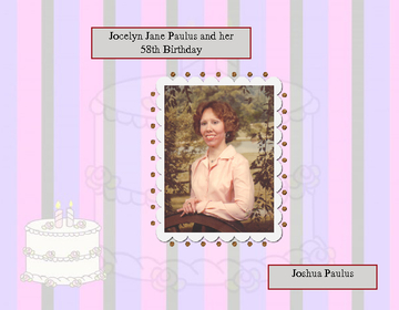 Jocelyn Jane Paulus 58th Birthday