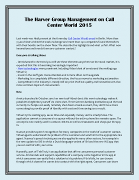 The Harver Group Management on Call Center World 2015
