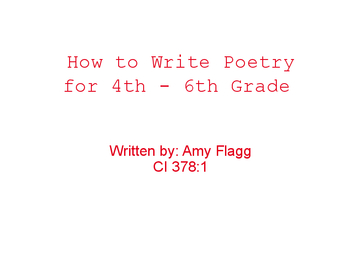 How to Write Poetry for 4-6th Grade