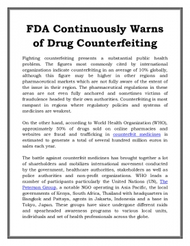 FDA Continuously Warns of Drug Counterfeiting