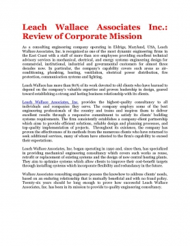 Leach Wallace Associates Inc.: Review of Corporate Mission