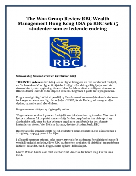 The Woo Group Review RBC Wealth Management Hong Kong USA på RBC søk 15 studenter som er ledende endring