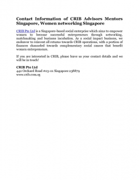 Contact Information of CRIB Advisors Mentors Singapore, Women networking Singapore