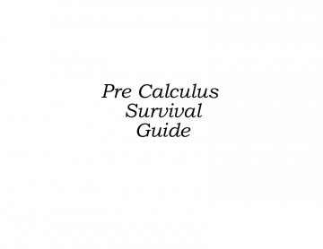 The Survival Guide to PRECALCULUS