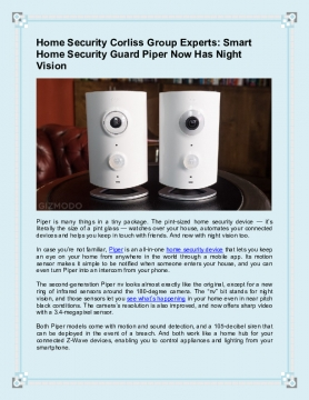 Smart Home Security Guard Piper Now Has Night Vision