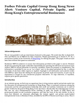 Forbes Private Capital Group Hong Kong News Alert: Venture Capital, Private Equity, and Hong Kong's Entrepreneurial Businesses