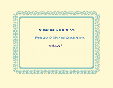 Words and Wishes to Ann