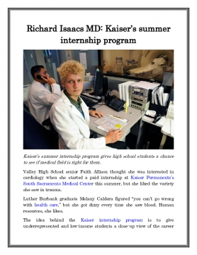 Richard Isaacs MD: Kaiser's summer internship program