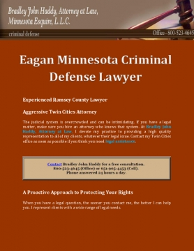 Bradley John Haddy Attorney At Law, Minnesota Esqiure, L.L.C.: Eagan Minnesota Criminal Defense Lawyer