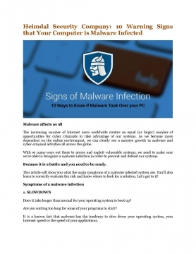 Heimdal Security Company: 10 Warning Signs that Your Computer is Malware Infected